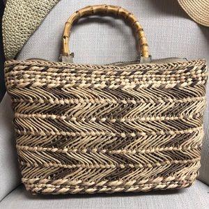 Vintage Bamboo Straw Medium Satchel Bag